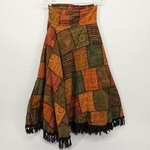 Vintage Patchwork Hinduism Symbols Skirt